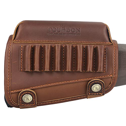 TOURBON Hunting Shooting Buttstock Ammo Cartridge Holder Rifle Cheek Rest Riser Pad - Genuine Leather for Right Handed