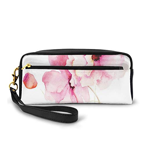 Pencil Case Pen Bag Pouch Stationary,Refined Light Pink Flowers Hand Drawn with Brush Marks Petals Nature Art,Small Makeup Bag Coin Purse
