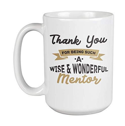 Gracias por ser un mentor tan sabio y maravilloso. Taza de café y té de inspiración para directores, líderes juveniles, pastores, ministros de la iglesia, jefe, comandante, jefe, empleado, mujeres y h