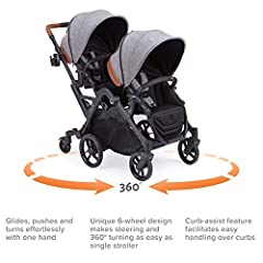 EASY STEERING & 360 TURNING -- 360 turning as easy as a single stroller. Innovative 6-wheel design provides superior maneuverability for narrow store aisles and tight turn radius to navigate busy streets and compact elevators. EASY HANDLING OVER CURB...