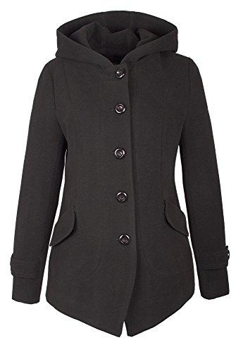 Grimada Rond - 1281 COOTIC vrouwen wollen jas met capuchon Taupe - bruin - Medium