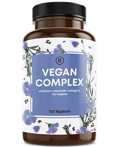 Kastingers® Vegan Complex - aus Vitamin B12 K2 D3 B2 Eisen Zink Selen und Omega 3 vegan - 120 Kapseln - vegan supplements