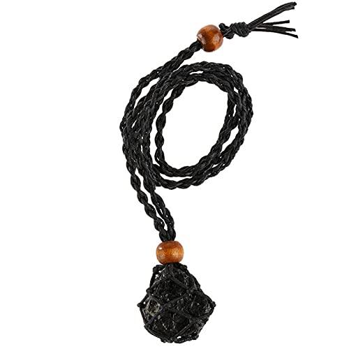 XIHUANNI Collar de piedra de cristal de cuarzo, amuletos indios de cordón de punto, regalo de joyería colgante para mujeres y hombres