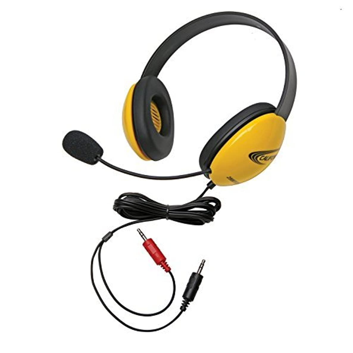 Califone 2800YL-AV Listening First Stereo Headset with Dual 3.5mm Plugs, Yellow, Adjustable Headband for Personalized Fit, Noise-reducing Circumaural Earcups, Noise Canceling Mic