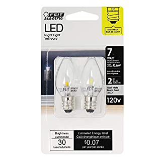 Feit Electric BPC7/LED Three LED Night Light Bulb with Candelabra Base, Clear, Pack of 2 (B000LWI8RE) | Amazon price tracker / tracking, Amazon price history charts, Amazon price watches, Amazon price drop alerts