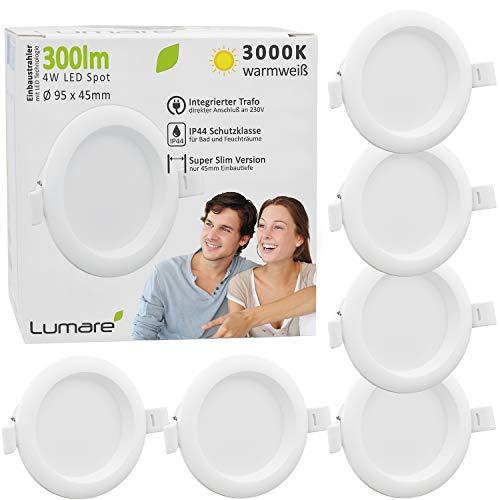Lumare LED Einbaustrahler 4W 230V IP44 Ultra flach 6er Set Wohnzimmer, Badezimmer Einbauleuchten weiss 45mm Einbautiefe Mini Slim Decken Spot warmweiß