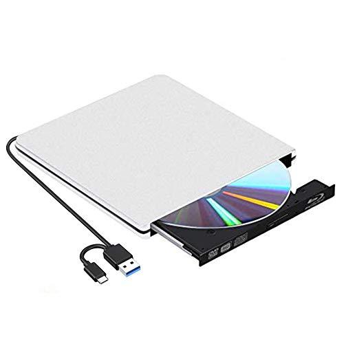 Unidad Externa de DVD BLU-Ray,BLU Ray 3D Grabadora DVD Reproductor Externo Portatil USB 3.0/Type-C Grabadora de Lector de CD DVD Disco para Windows 10/7/8/Vista/XP/Mac OS Linux(Plata)