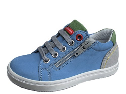 Mädchen-Jungen-Baby-Kinder-ennellemoo® - Halbschuhe-Sneaker-Slipper- Echt Leder-Schuhe-Reißverschluss-Schnürer.Premiumschuhe - Vollleder. (20, Blau/Grün/Grau)