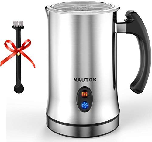 Milk Frother, Electric Milk Frother with Hot or Cold Functionality, Foam Maker, Silver Stainless Steel, Automatic Milk Frother and Warmer for Coffee, Cappuccino and Matcha (Silver)