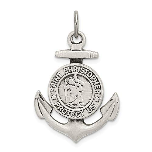 Solid 925 Sterling Silver Vintage Antiqued St Christopher Anchor Medal Brushed Matte Finish Pendant Charm - 33mm x 20mm
