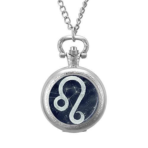 None Brand Sternzeichen Löwe Sterne Horoskop Taschenuhr Graviert Anhänger Quarz Anhänger Halskette mit Kette für Männer Frauen Silber lmjok5pmz6pp