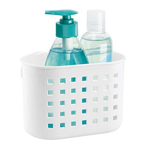 iDesign Basic Duschkorb, Duschzubehör ohne Bohren mit Saugnapf aus Kunststoff, weiß
