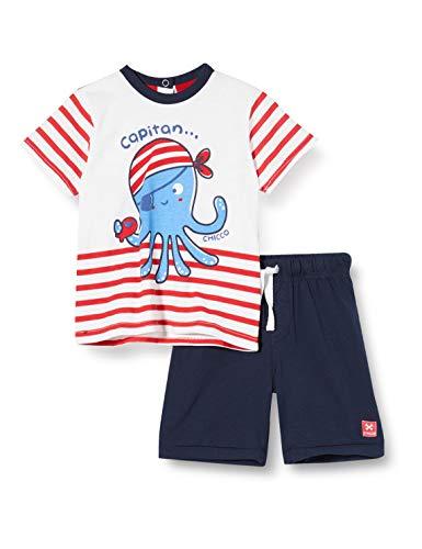 Chicco Completo 2 Pezzi Bimbo Pirata: T-Shirt + Pantaloncini Corti Conjunto de Ropa, Rojo (Rossol E BLU 037), 86 (Talla del Fabricante: 086) para Bebés