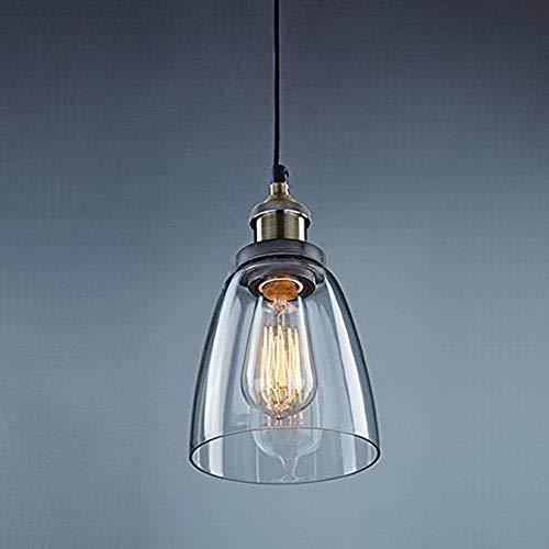 Unimall Lámpara de Techo Vintage Vidrio Colgante de Luz Industrial de Cristal tulipa para Salón Cocina Restaurante Cafetería (Bombilla No Incluída) [Clase de eficiencia energética A+++]