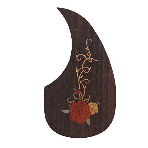 Decals Rose Pattern Brown Pickguard Scratchplate mit doppelseitigem Klebstoff für 40-41 Zoll Holzgitarre