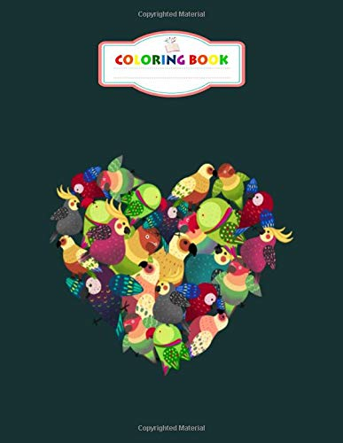 Coloring Book: colorful birds in the heart shape - For Kids Aged 2-8 100 pages 8.5x11 inches