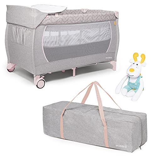 skiddoü Lunar - Cuna de viaje con juguetes y cambiador, cama plegable...