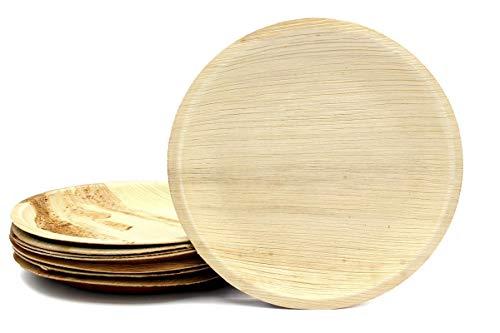 BIOCHIC - Platos desechables ecológicos y compostables de hoja de palma – Redondo 15 cm, 8 unidades.