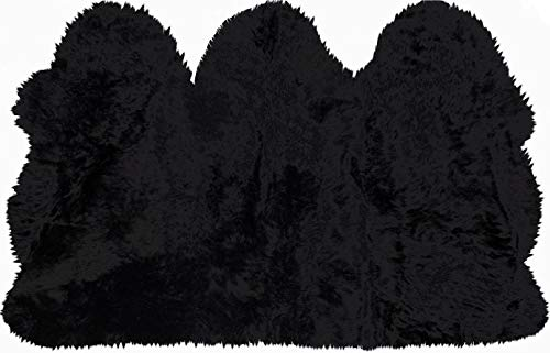 Natural Thick and Lush 2.5 inch Pile Anti-Skid Backing Hypo-Allergenic Premium Quality New Zealand Sheepskin Wool Area Rug, Black, 3 ft x 5 ft – Trio