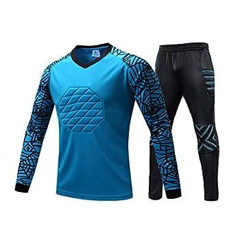 Goalkeeper Padded Jersey and Pants Uniform,Youth Soccer Goalie Shirts Pants,Adult Long Sleeve Keeper Uniform Kit  Blue Medium