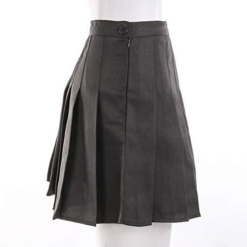 CHRONSTYLE Mini Falda Mujer Plisada, Faldas de Escuela de Tenis para niñas, Elegante Invierno Alta Cinturilla Elástica de Encaje Doble de la Colegiala (Negro, XL)
