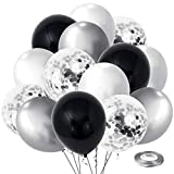 Black Silver Confetti Latex Balloons,60pcs 12 inch Black White Silver Metallic Chrome and Silver Confetti Balloons for Birthday, Baby Shower, Wedding, and Silver Theme Party Decoration