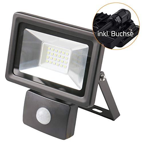 proventa® Außen-LED-Strahler 20 Watt mit Bewegungsmelder | inkl. Schnellmontagebügel | 4.000 Kelvin | 1500 Lumen | IP65 | Aluminium | LED-Lebensdauer 30.000 Stunden