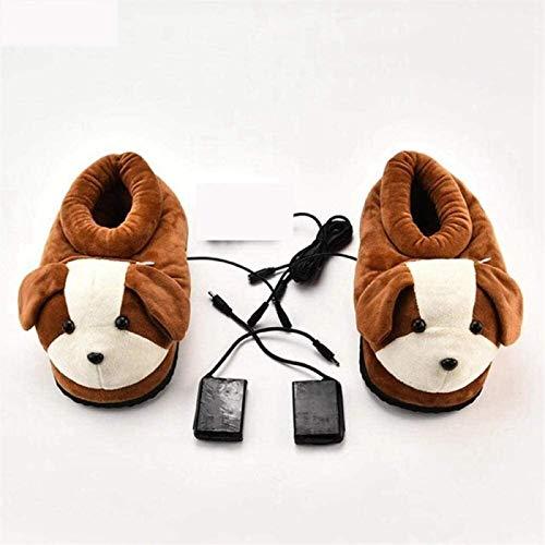 GaoF Fußwärmer elektrische elektrische warme Schuhe Cartoon beheizte Hausschuhe Plüsch beheizte Schuhe warme Büro Schlafsaal herausnehmbare und waschbare Hausschuhe robuste Anti-Rutsch-Sohle