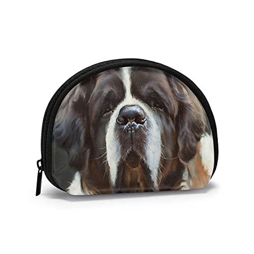 Charm feo perro de San Bernardo impreso temático cambio monedero lindo Shell almacenamiento bolsa niña carteras Bule monederos clave bolsa Gifys mujer novedad