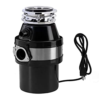 KUPPET Garbage Disposal, Garbage Disposal with1 HP Household Food Waste Garbage Disposal Continuous Feed with Power Cord 3 Level of Grinding 2600 RPM (Black)