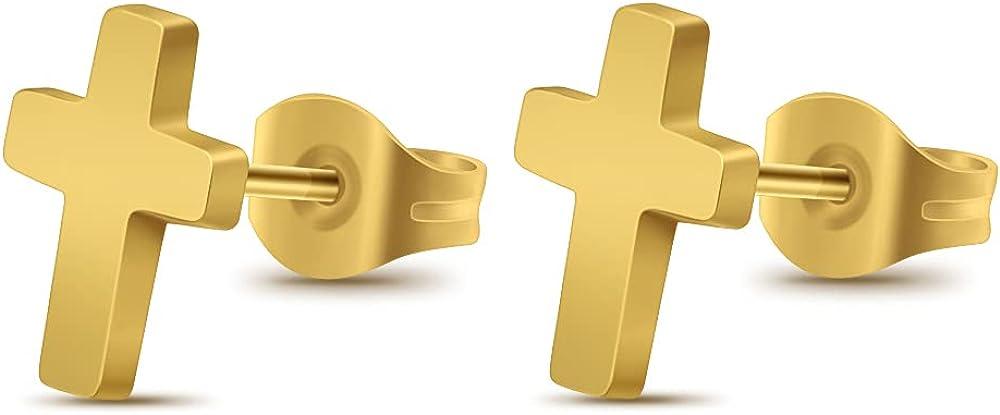 Stainless Steel Christian Mini Cross Earrings Punk Ear Piercing Jewelry Stud Earrings