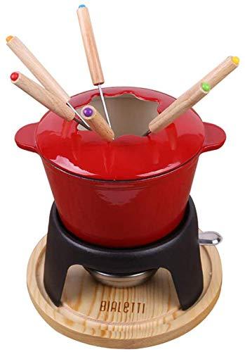 Mini-Gusseisen-Fondue-Set, Einzel-Hot Pot, 16 ×, 10 cm, Käsefondue mit 6 Gabeln,