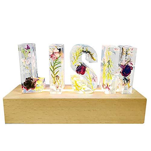 Lámpara de cristal 3D Lámpara de letra personalizada Lámpara de nombre grabado Flor seca Resina l Luz Luces de Navidad(Letra)