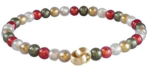 Murano-Kette Collier Perlen Handarbeit echtes Murano-Glas Klapp-Schließe Sterling-Silber gold-plattiert 585 Goldschmiede-Arbeit kostbar stilvoll
