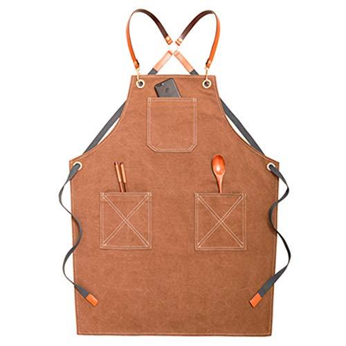 Schort Unisex Apron, met zakken - Denim Cooking Aprons for Grill, Bakkers, Keuken, Theeshop, Coffee Shop Overalls, Aanpasbaar Logo D