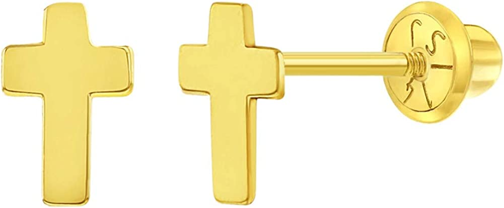 14k Yellow Gold Tiny Classic Cross Screw Back Earrings for Toddlers & Little Girls - Dainty Cross Earrings with Safety Screw Back for Children - Small Religious Stud Earrings for Babies & Toddler