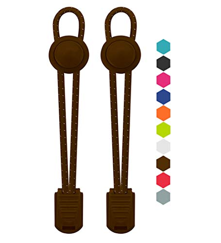 VESONNY Elastic No Tie Shoelaces - Reflective Shoe laces for Kids and Adults (brown)