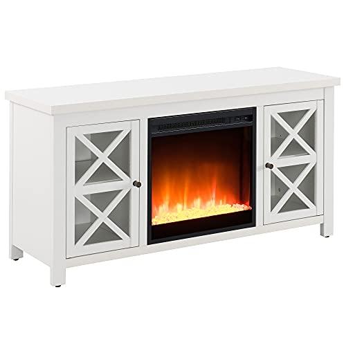 """Henn&Hart Crystal Fireplace Insert TV Stand, 48"""", White Oak"""