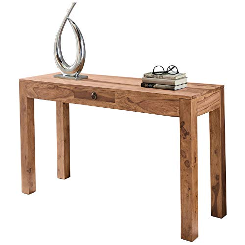 FineBuy Konsolentisch Massivholz Akazie Konsole mit 1 Schublade Schreibtisch 120 x 40 cm Landhaus-Stil Sideboard Modern Massiv dunkel-braun Echt-Holz Natur Anrichte PC-Tisch Sekretär Tisch Flur