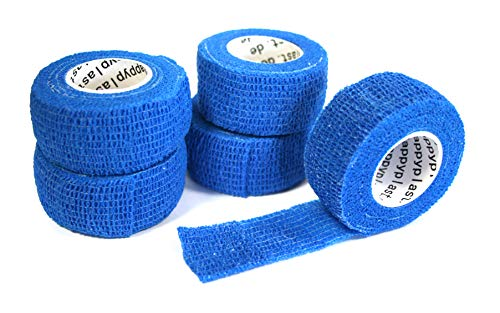 Happyplast Pflaster ohne Kleber (blau) | 5 Stück Fingerpflaster wasserfest selbsthaftend elastisch | Pflasterband selbstklebend 2,5 cm x 4,5 m | Selbsthaftendes Pflaster sensitiv