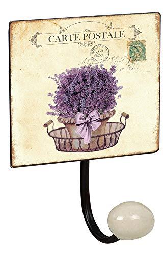 Lashuma metalen bord haakstrip wandhaken 2 maten, 4-delige wandgarderobe 1e badhaak groot, lavendel motieven landhuis Rustiek 1er mandje