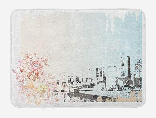 ABAKUHAUS Amsterdam Tappetino da Bagno, Edifici Strada Antica, Vasca Doccia WC Tappeto in Peluche con Supporto Antiscivolo, 45 cm x 75 cm, Multicolore