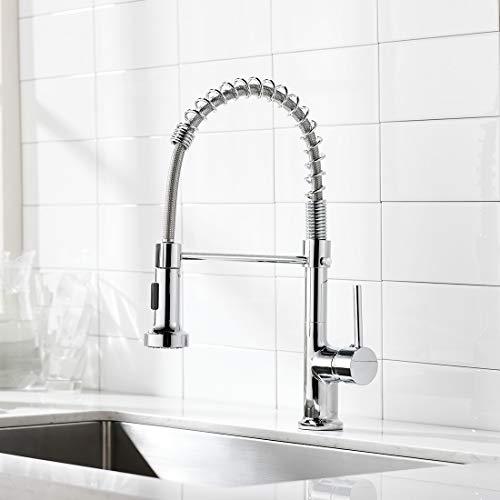 AIMADI Wasserhahn Küche Mischbatterien Küchenarmatur mit Brause Spültischarmatur Spiralfederarmatur Küchenspüle Armatur Chrom
