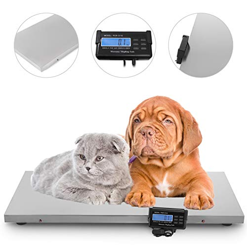 Happybuy 440Lbs Digital Livestock Scale, Large Pet Vet Scale 43x21 Inch Stainless Steel Platform, Electronic Postal Shipping Scale, Heavy Duty Large Dog Cat Hog Sheep Goat Pig Sheep Scale