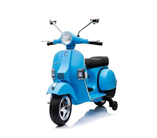 Expertshop Vespa Moto con rotelle Piaggio elettrica per Bambini 12 Volt Mp3 con Radio Colore Blu