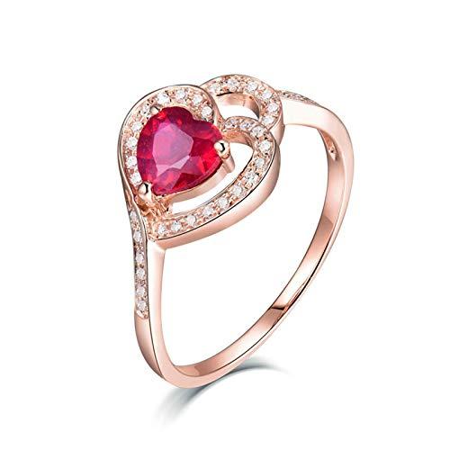 AnazoZ Anillos Mujer Rubi,Anillo de Oro Rosa 18 Kilates Oro Rosa y Rojo Corazón Hueco Rubí Rojo 1.02ct Diamante 0.16ct Talla 30