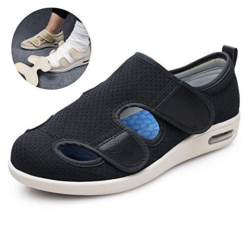Zapatos de osteoartritis Unisex Diabetes Extra Ancha Zapatillas de Edema Juanetes Calzado ortopédico colchón de Aire de TPU para ancianas Embarazadas Fascitis Plantar pies hinchados,Negro,38
