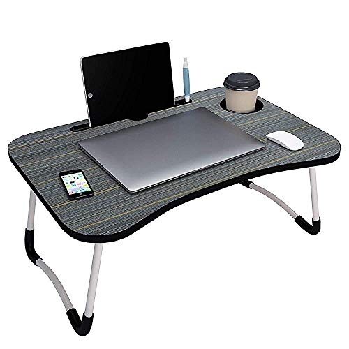 Callas Multipurpose Foldable Laptop Table with Cup Holder, Study Table, Bed Table, Breakfast Table, Foldable and Portable/Ergonomic & Rounded Edges/Non-Slip Legs, CA025, Black