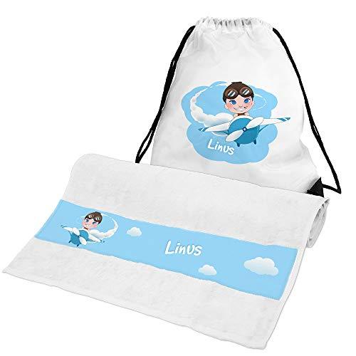 Eurofoto Handtuch + Turnbeutel Set mit Namen Linus und Piloten-Motiv für Jungen | Handtuch und Turnbeutel Bedruckt |