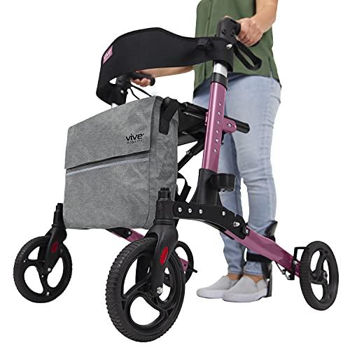 Vive Rollator Walker – Folding 4 Wheel Medical Rolling Walker with Seat & Bag – Mobility Aid for Adult, Senior, Elderly…